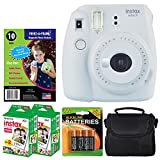 Fujifilm instax mini 9 Instant Film Camera (Smokey White) + Freez-A-Frame Magnetic Photo Pockets + Fujifilm Instax Film (40 Exposures) + Small Case + 4 AA Batteries – Full Accessories Bundle