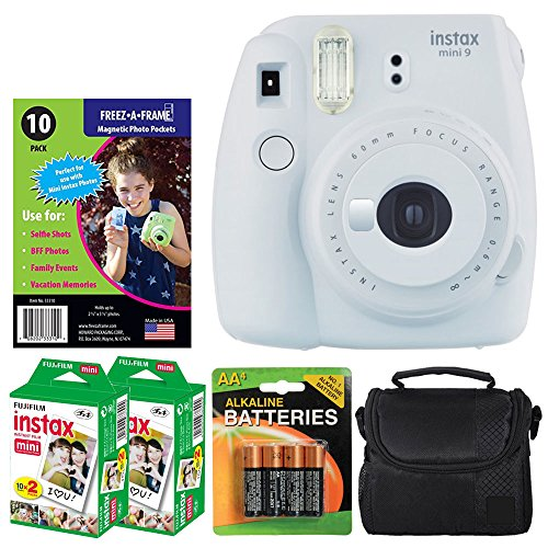 Fujifilm instax mini 9 Instant Film Camera (Smokey White) + Freez-A-Frame Magnetic Photo Pockets + Fujifilm Instax Film (40 Exposures) + Small Case + 4 AA Batteries – Full Accessories Bundle by PHOTO4LESS