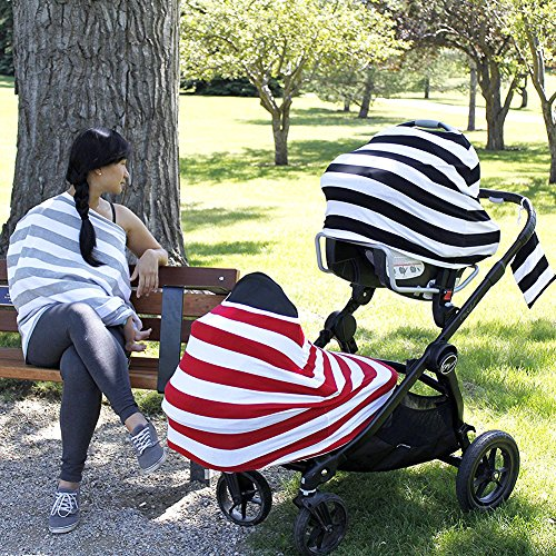 iZiv Ultrasoft 4-en-1 Multi-usages Bébé Housse Elastique Canopy/Housse d'allaitement/Couverture Panier d'achat/Echarpe Durable Cadeau pour Bébé (Couleur-2) low-cost