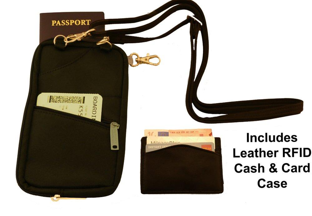 BeSafe RFID Passport Holder & Organizer + Bonus RFID Leather Credit Card Wallet BeSafe Bags Travelon