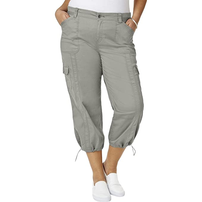 5fc2eb1450 Style   Co. Womens Plus Capri Adjustable Cargo Pants Gray 14W at ...