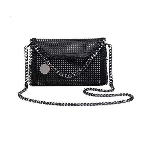 0fac2ba43bb MM&SS SHOP Punk Rivets Crossbody Purse for Women Synthetic Leather Handbag  Clutch Designer Casual Chain Messenger Bag