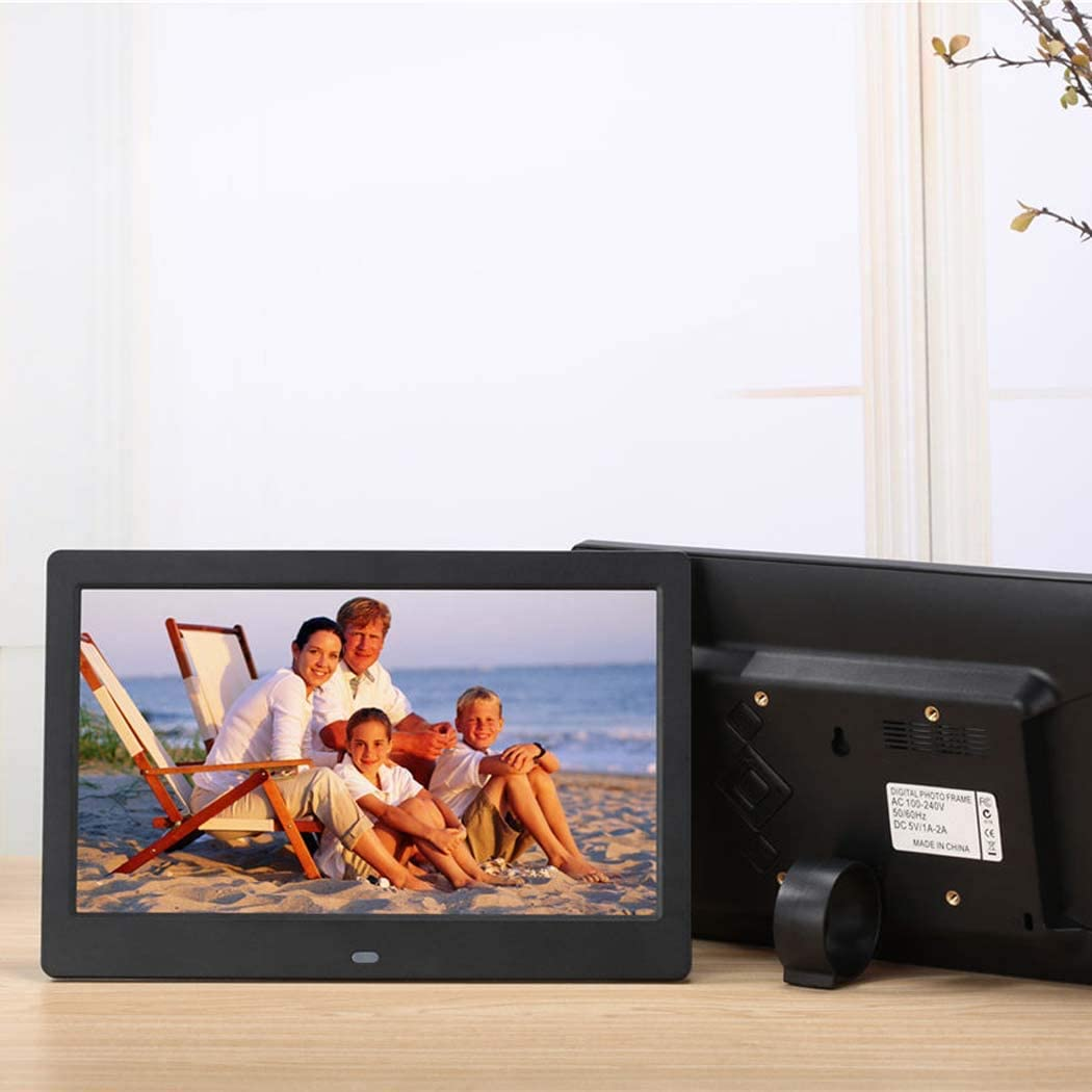 10 inch HD Display 1280x800 Built in 8GB Memory WW/&C Digital Picture Frame Background Music 1080P Video USB SD Solt Supported Photo Frame,White