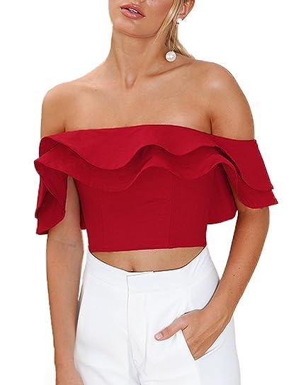 Smalltile Verano Mujer Blusa Moda Volantes Colores Lisos Corto Camisetas Atractivo Sin Tirantes Blouses T Shirt