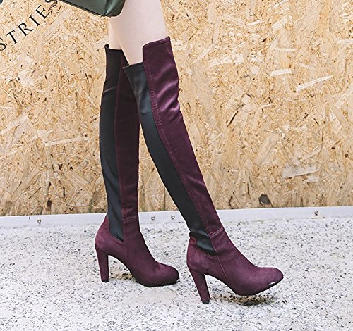 Carolbar Women's Contrast-stitching Sexy High Heel Over The Knee Boots Wine Red SsAkw