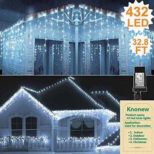 KNONEW LED Icicle Lights, 432 LEDs, 32.8ft, 8 Modes, Curtain Fairy Light, LED String Light for Wedding/Christmas/Halloween/Thanksgiving/Easter/Party Backdrops (Cool White)