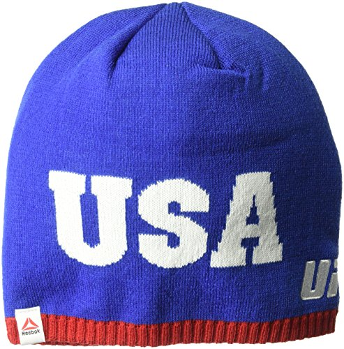 Reebok UFC Adult Unisex USA Uncuffed Beanie, One Size, Blue/Red (Embroidered Beanie Ufc)
