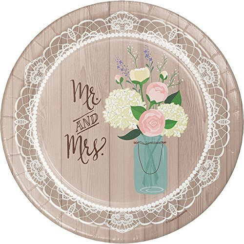 Creative Converting 24 Count Sturdy Style Banquet Plate, 10, Rustic Wedding