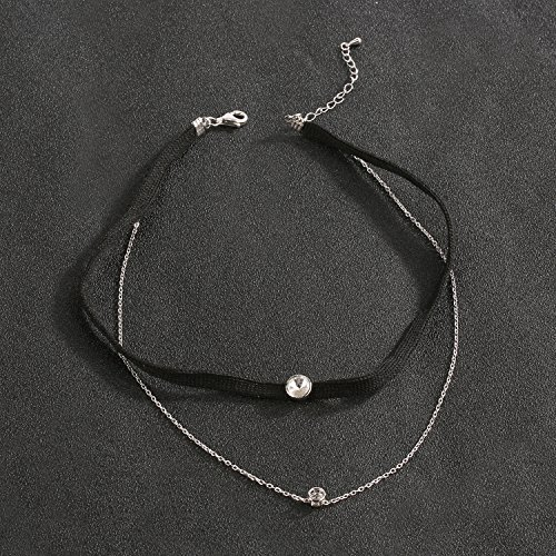 LOCHING Personality Elastic Black Cord Necklace Double Chain Necklaces Inlaid Zircon 925 Silver Double Collar Necklaces by LOCHING (Image #3)