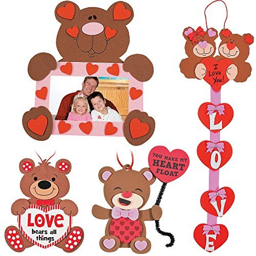 Valentine's Day Bears Craft Kit | Picture Frame, Sweetheart Door Hanger, Love Sign & Ornament | Kids DIY Classroom Exchange DayCare Home School Art Project Gift Decoration | 4 Fun Boys & Girls Kits.