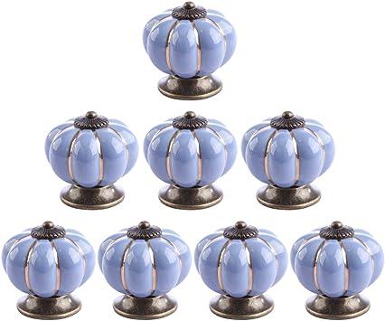 Indianshelf Set of 8 Handmade Ceramic Mustard Small Striped Drawer Knobs Dresser Pulls Door Handle