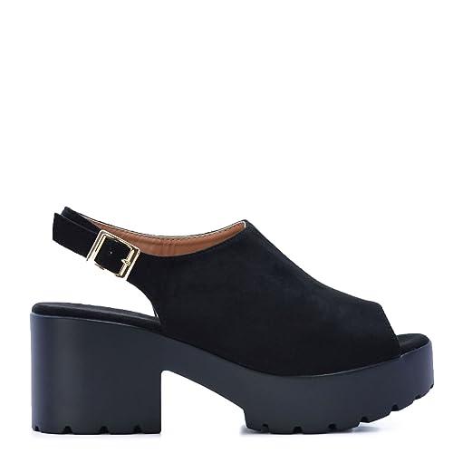 4048911b90ebf Zapatos con Plataforma de Ante en Color Negro Suela Track 2019  Amazon.es   Zapatos y complementos
