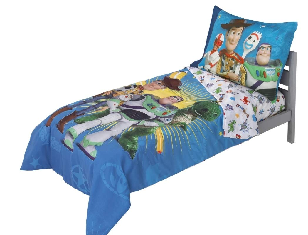 Toy Story 4 Toys in Action Toddler Bedding Set Comforter + Sheets (4 Piece) by By Toy Story