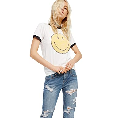 0c29d721c46 Emoji T Shirt Women Vintage White Funny Graphic Tumblr Cute Smiley Face Tees  Tops (White