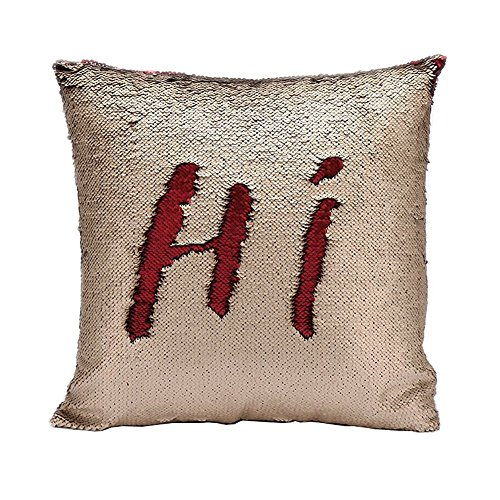 Fengheshun Reversible Sequins Mermaid Pillow Covers 40×40 cm Magical Color Changing Pillowcase Christmas Decoration (Red+Beige)