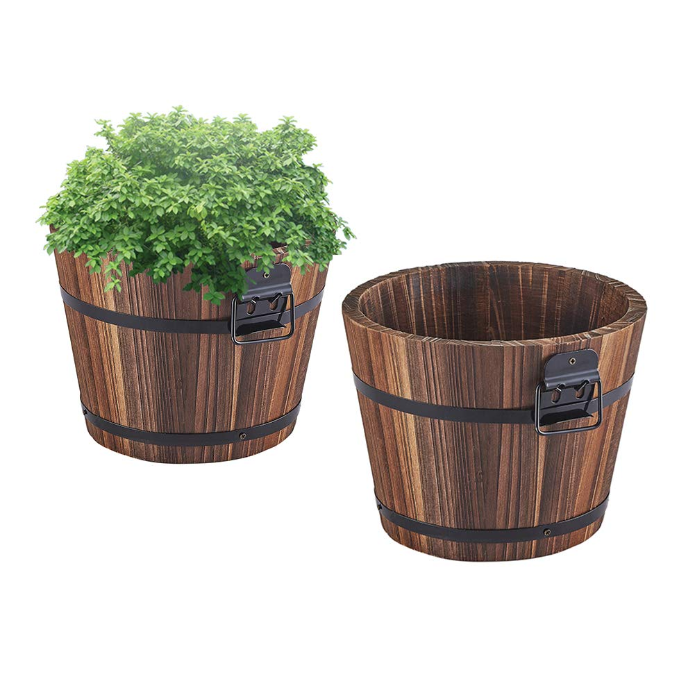 Wooden Bucket Barrel Planters - 5.5'' Rustic Flower Planters Pots Boxes Container with Drainage Holes for Patio Garden Outdoor Indoor Home Decor Small Plants, Brown Set of 2 by HappyDecor