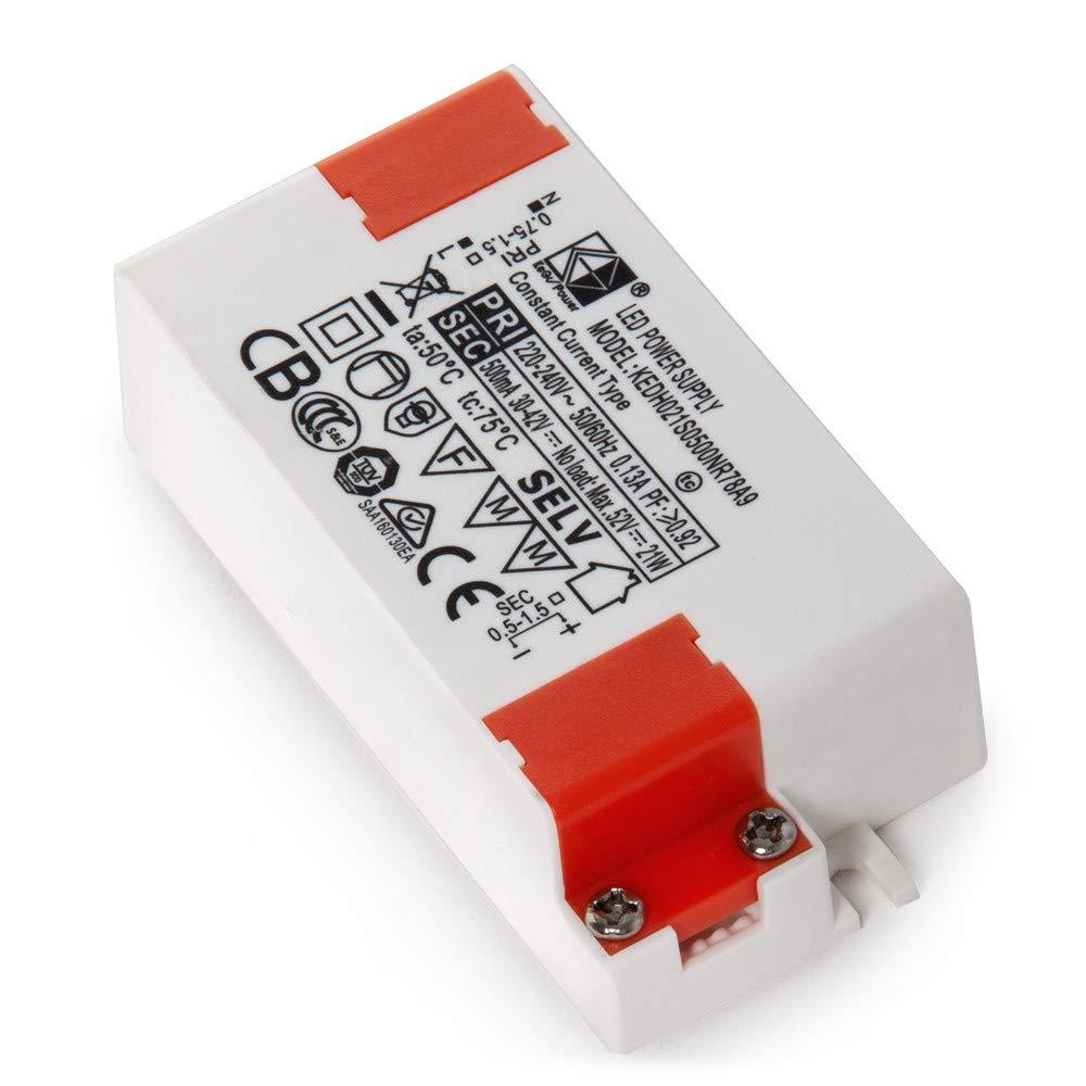 Driver LED 20W 25-40VDC 500mA Foco Carril 20W-Kimera Greenice