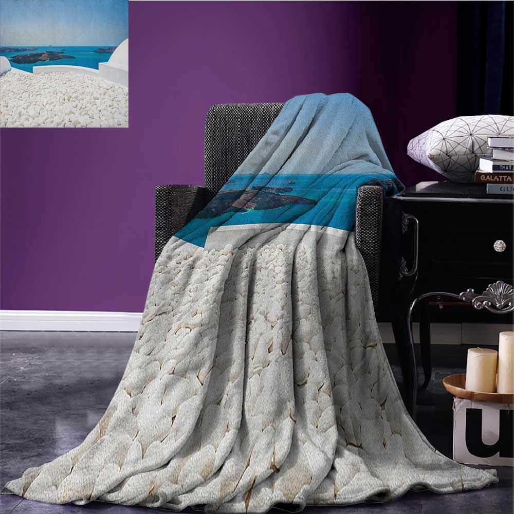 Travel travel blanket Hotel with White Stones Santorini Island Greece Landscape with Sea Art Flannel blanket Turquoise and White size:50''x60''