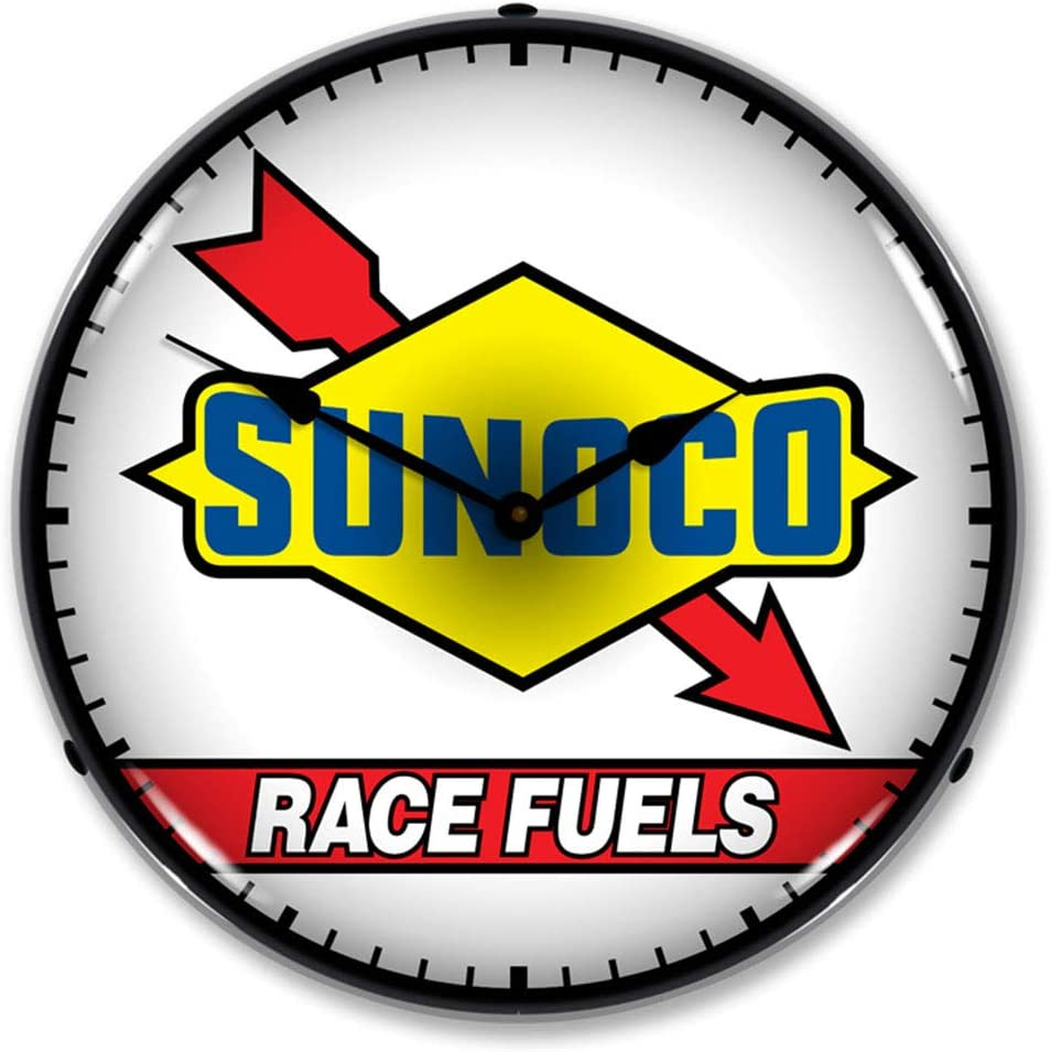 Sunoco Race Fuels LED Wall Clock, Retro/Vintage, Lighted, 14 inch