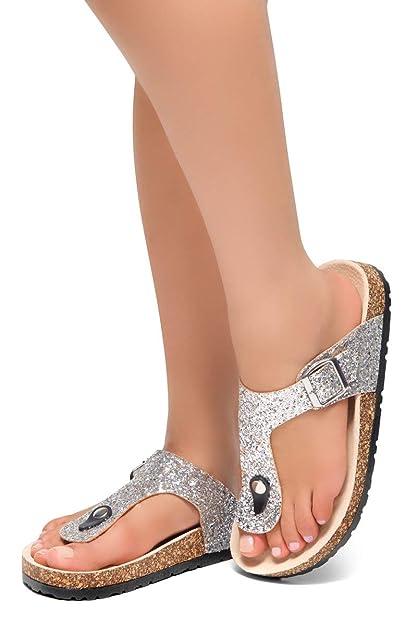 Ladies Jewel Slip On Mule With Adjustable Buckle Beige