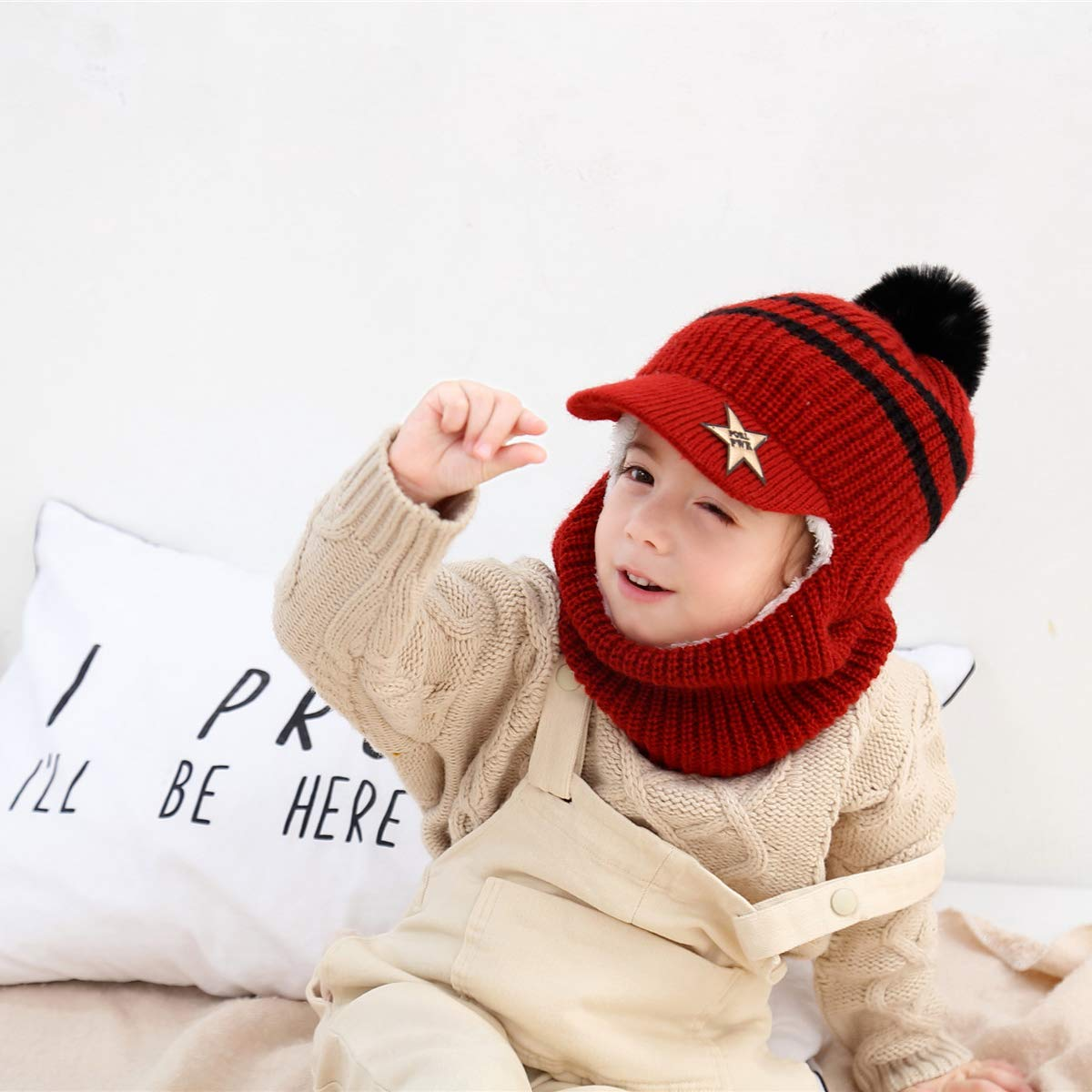 Wxllzlife Kids Winter Hat Baby Boys Knit Hat Baby Girls Thick Scarf Earflap Hood Scarves Skull Caps 1-5 Years