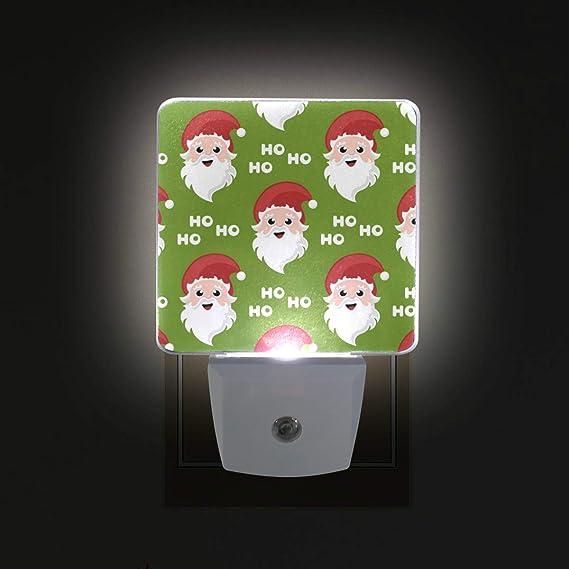 Ahomy Luz LED de noche, Papá Noel de Navidad Ho Dusk to Dawn Sensor de fotocélula, enchufe en lámpara para bebé adultos cuarto de bebé, 2 unidades: Amazon.es: Iluminación