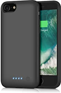 Xooparc Battery case for iPhone 8/7, [6000mah] Upgraded Charging Case Protective Portable Charger Case Rechargeable Extended Battery Pack for Apple iPhone 7/8(4.7') Backup Power Bank Cover (Black)
