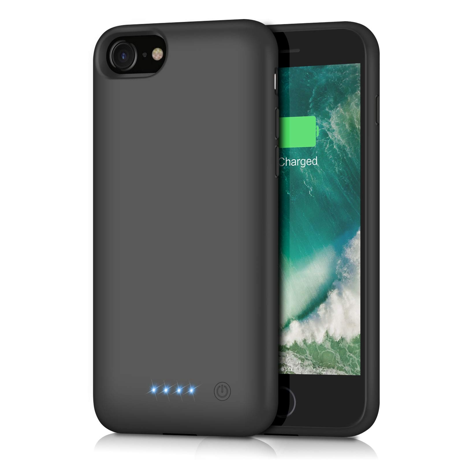 7 BioRing Battery Case for iPhone 8 6S Black, iPhone 6 7 8//4.7 6 // Plus with 5000 mAh Extended Battery Pack Light Weight Charge Case