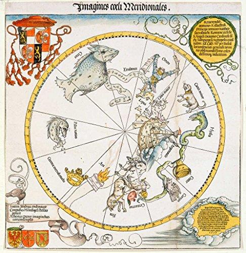 kunst für alle Art Print/Poster: Albrecht Dürer Karte des südlichen Sternhimmels Picture, Fine Art Poster, 21.7x21.7 inch / 55x55 cm