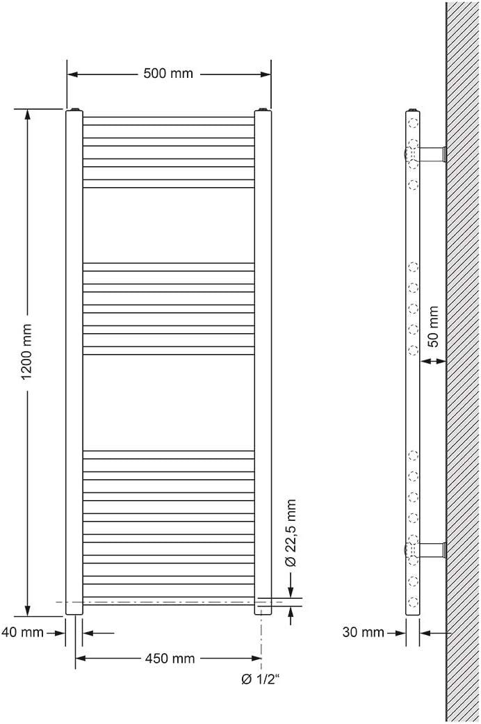 droit avec raccordement lat/éral 500 x 1200 mm Chrom/é ECD Germany Sahara radiateur s/èche-serviettes Puissance 1200W