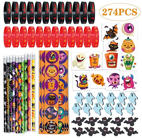 274PCS Halloween Party Favor Toys, 10 Pencils, 24 Erasers, 24 Bracelets, 144 Stickers, 72 Temporary Tattoos