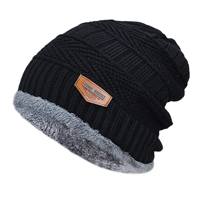 8464dee88f9f Men s Winter hat Fashion Knitted Black Hats Fall Hat Thick and Warm and  Bonnet Skullies Beanie