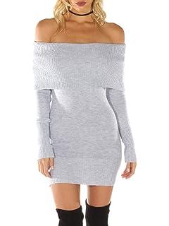 Melegant Damen Herbst Kurz Kleid Elegant Vintage Off Shoulder Langarm Eng  Strickkleider Winter f752fb758b