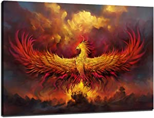 Moden Fire Phoenix Artwork for Wall Burning Phoenix Bird Painting Artwork Cool Home Decorative Posters Ready to Hang for Home Decor (16''H x 24''W)