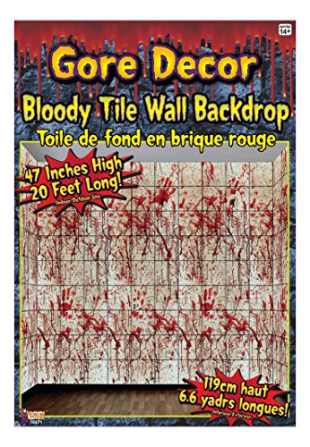 House Halloween Costume Ideas (Forum Novelties Gore Decor Bloody Tile Wall Backdrop, Multicolored)