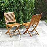 BillyOh Windsor Pair Of Hardwood Acacia Folding Wooden Chairs