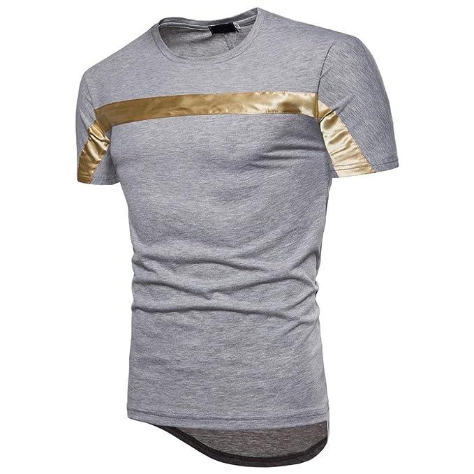 6fc50e5044c8 Herren Shirts,Frashing Mode Männer Bluse Kurzarm Fit Pullover Shirt  Patchwork Casual Top Polo Militär