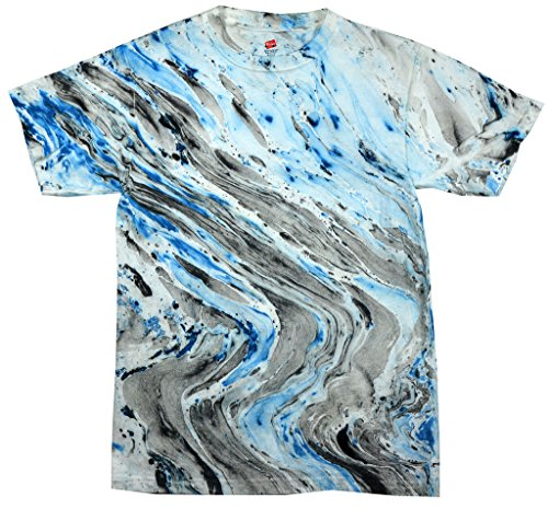 Yoga Clothing For You Mens Marble Tie Dye Tee, 3XL Marble Blue Tiger
