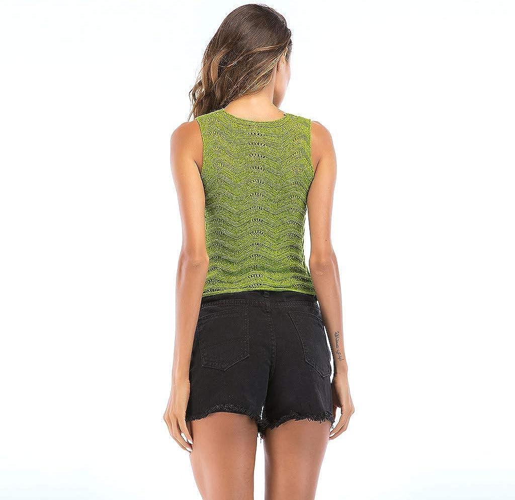 Womens Tops Hooked Openwork Wavy Side Sleeveless Tank Blouse