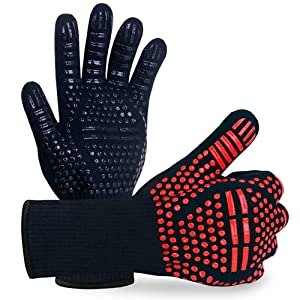 BBQ Grill Gloves, 1472°F Extreme Heat Resistant Non-slip Silicone Insulated Oven Mitts for Outdoor Cooking, Grilling Potholder, Kitchen, Smoker Baking, Barbecue, Fireplace, Frying, Cutting, 1 Pair