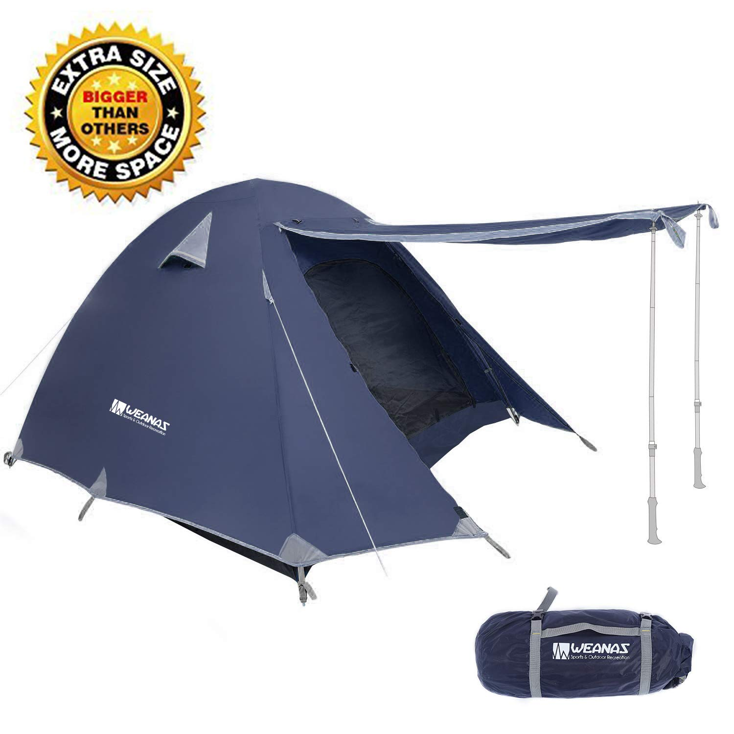 Weanas Professional Backpacking Tent 2 3 4 Person 3 Season Weatherproof Double Layer Large Space Aluminum Rod for Outdoor Family Camping Hunting Hiking Adventure Travel (Extra Size Navy, 1-2 Person) by Weanas