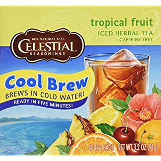 Celestial Seasonings Cool Brew Tropical Fruit Iced Herbal Tea Caffeine - 40 Tea Bags