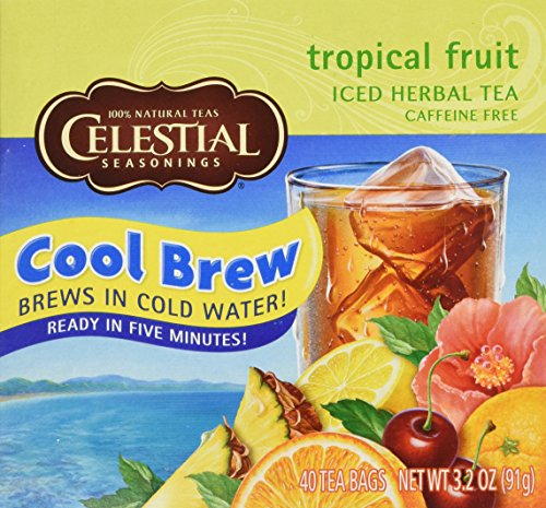 Celestial Seasonings Cool Brew Tropical Fruit Iced Herbal Tea Caffeine Free - 40 Tea Bags