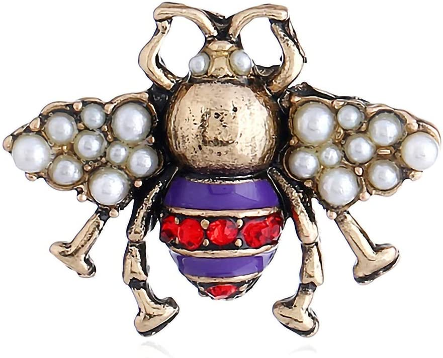 Abejas europeas y americanas con diamantes broche estéreo personalidad exquisita perla de la aleación collar de regalo de insectos broche de vacaciones pin joyería simple linda ( Color : Purple )