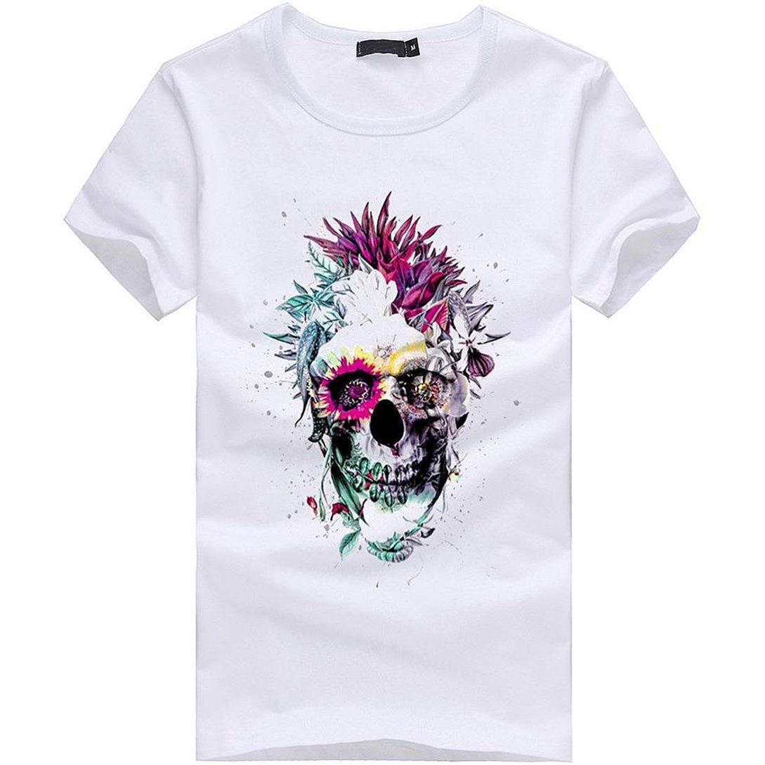 Kword/® Felpe Uomo Ragazzo con Cranio Stampa T Shirt Manica Corta Estate Camicia Camicetta in Cotone Maglietta Pullover Top Polo Uomo Plus Size S ~ 4XL