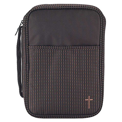 Brown Stripe 7.5 x 10 Reinforced Polyester Thinline Bible Cover Case with Handle by Dicksons