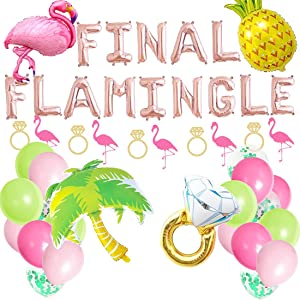 Final Flamingle Balloons Hawaii Luau Flamingo Bach Pineapple Bachelorette Party Banner Flamingo Decor,Flamingo Bach Bachelorette Party Supplies Decorations