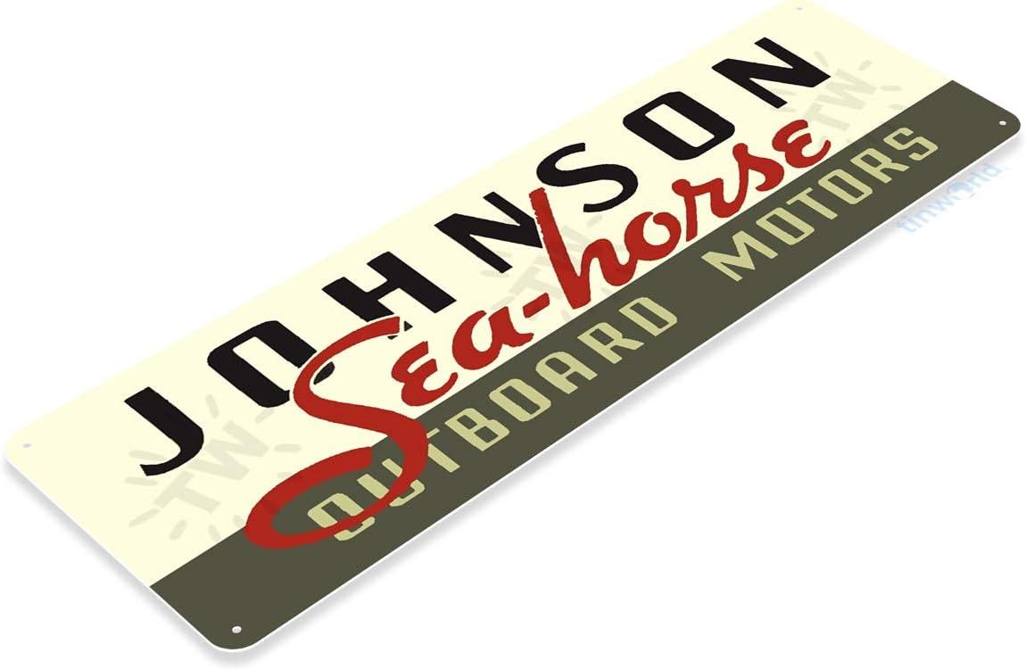 Johnson Outboard Motors Retro Logo Sea Horse Boat Wall Art Decor Metal Tin Sign