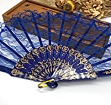 Dark Blue Spanish Hand Fan Fabric Floral Floral Lace Edge Folding Hand Fans Dancing Party Fan Decor