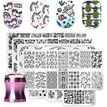 BORN PRETTY 7Pcs Nail Art Stamping Template Flower Unicorn Fruit Summer Manicure Print DIY Image Plate with Stamper Kit